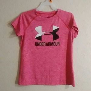 Under armour shirt. Kids size M. Color hot pink.